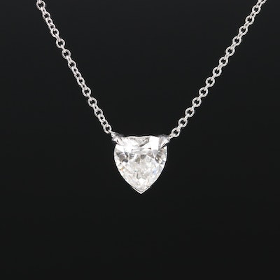 14K 0.94 CT Diamond Heart Solitaire Necklace with GIA Report