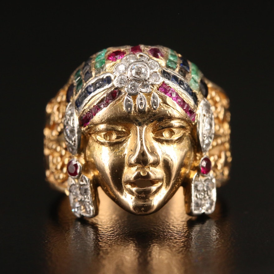 Egyptian Revival 18K Ring with Diamond, Amethyst, Ruby, Emerald and Sapphire