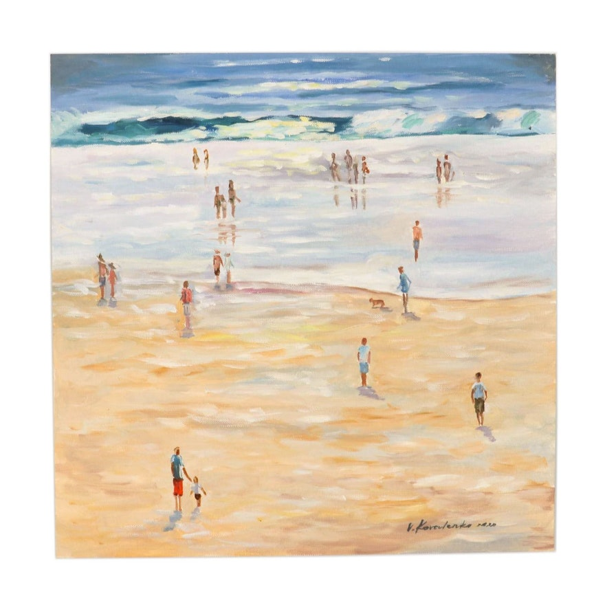 Victor Koralenko Oil Painting of Beach Scene, 2020