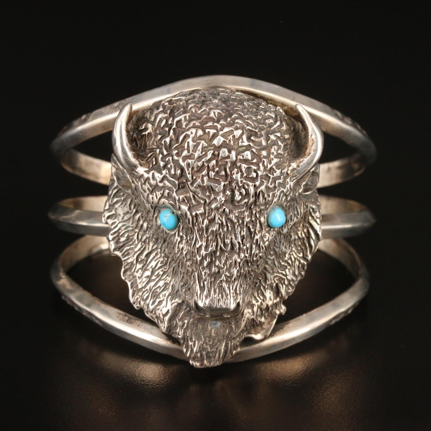 Signed Western Sterling Silver Turquoise Buffalo Cuff