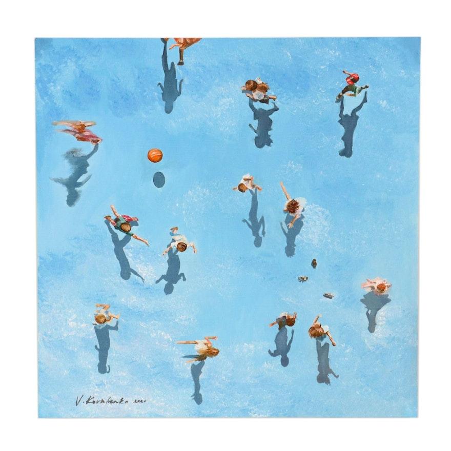Viktor Kovalenko Oil Painting of Children Playing Outdoors, 2020