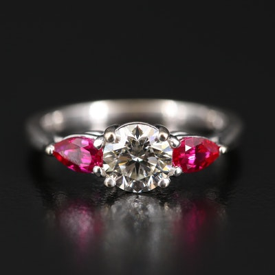 18K Diamond and Ruby Three Stone Ring