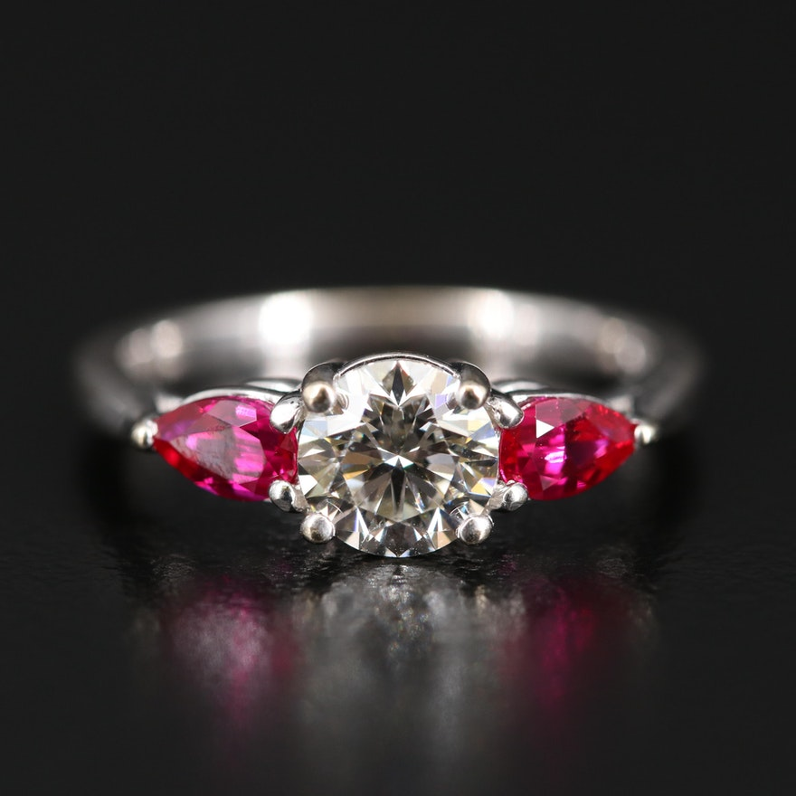 18K Diamond and Ruby Three Stone Ring
