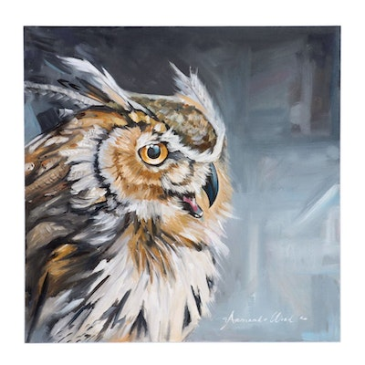 Armando Wood Oil Painting of Great Horned Owl, 2020