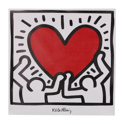 Giclée after Keith Haring of Two Figures Holding a Heart