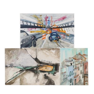 Phiris Kathryn Sickels City Scenes Watercolor Paintings