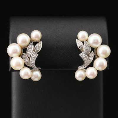 14K Pearls and Diamond Earrings with Foliate Motif