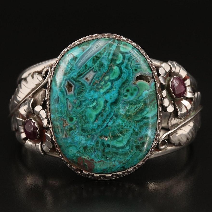 Robert Drozd Sterling Silver Eilat Stone and Corundum Cuff