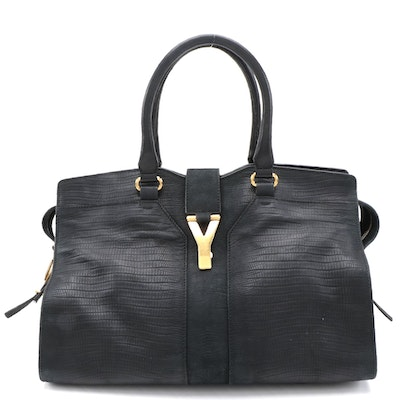 Yves Saint Laurent Chyc Cabas Tote in Black Lizard Embossed Leather