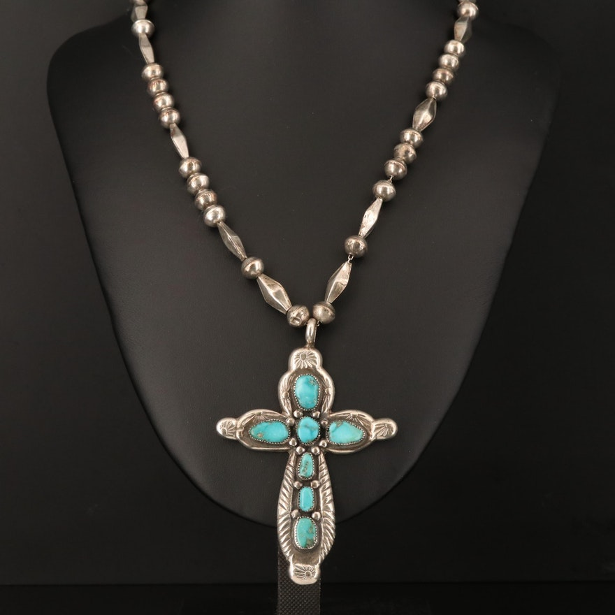 Horace Iule Zuni Sterling Silver Turquoise Cross Pendant Necklace