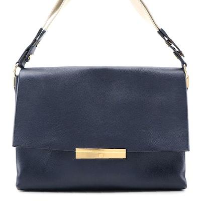 Céline Blade Flap Front Shoulder Bag in Navy Blue Leather