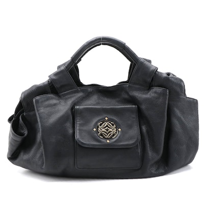 Loewe Black Nappa Leather Aire Front Pocket Hobo Bag