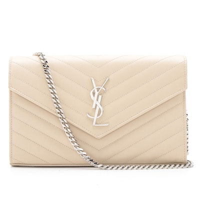 Yves Saint Laurent Classic Monogram Chain Wallet in Matelassé Quilted Leather