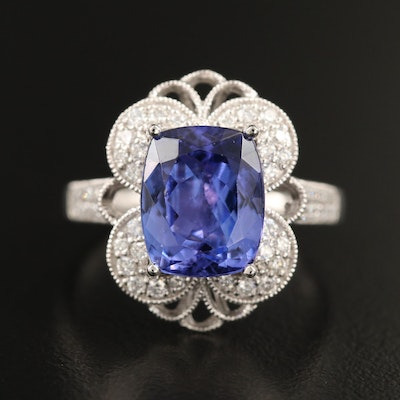 Platinum 4.33 CT Tanzanite and Diamond Ring