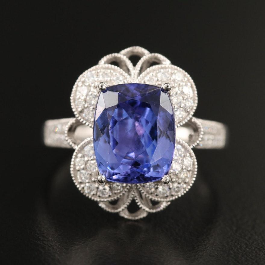 Platinum 4.33 CT Tanzanite and Diamond Ring