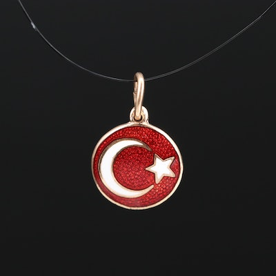 14K Crescent Moon and Star Turkish Flag Enamel Charm
