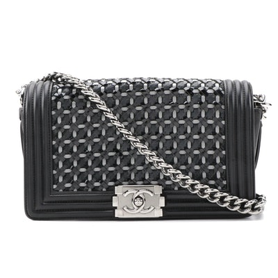 Chanel Medium Boy Flap Bag in Braided Patent Leather and Lambskin