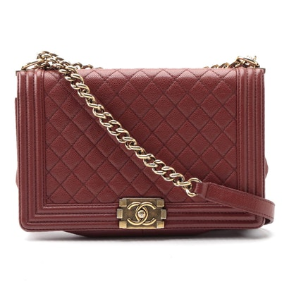 Modified Chanel Medium Boy Bag in Quilted Caviar Leather