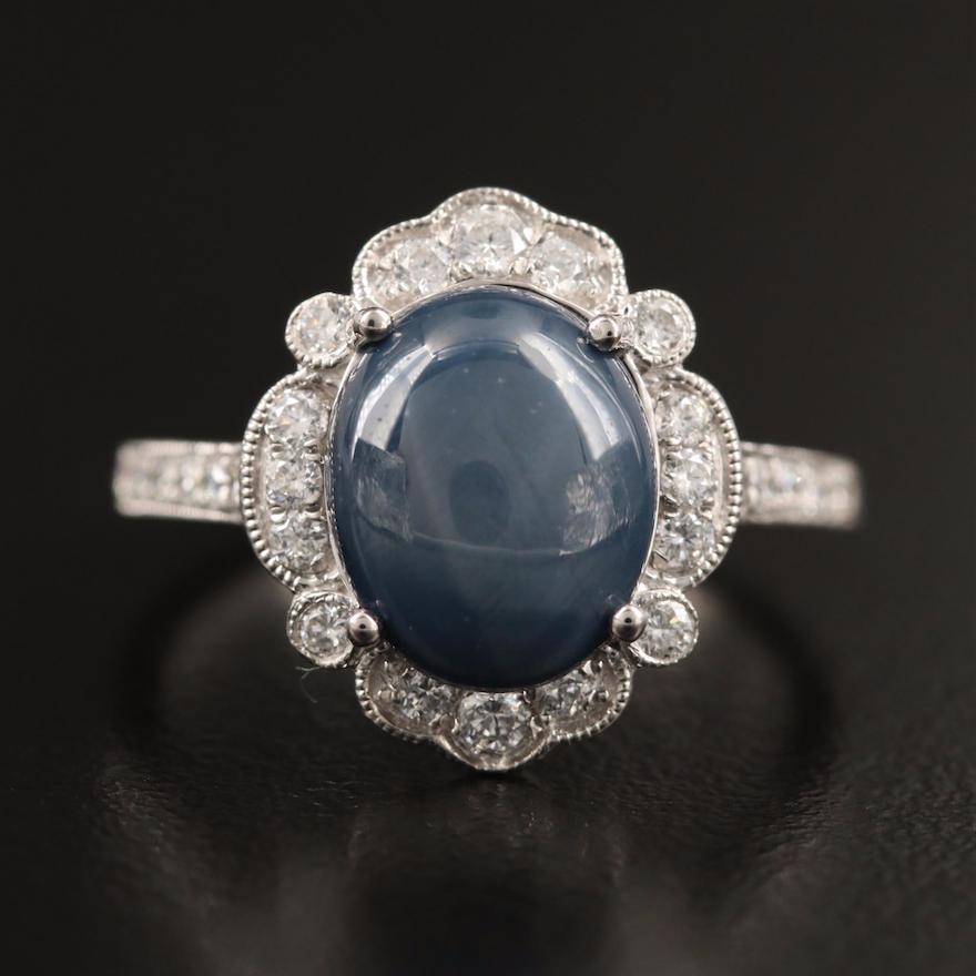Platinum 3.78 CT Star Sapphire and Diamond Ring