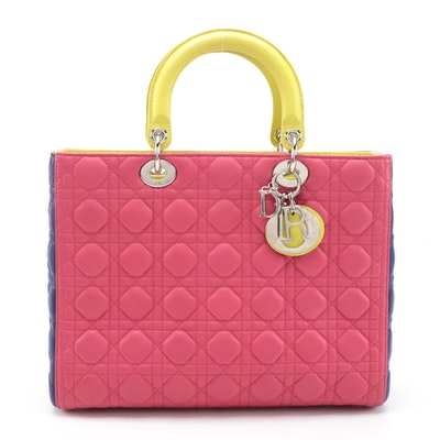 Christian Dior Lady Dior Bag in Tricolor Cannage Quilt Lambskin