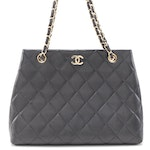 Chanel CC Chain Tote in Black Quilted Lambskin