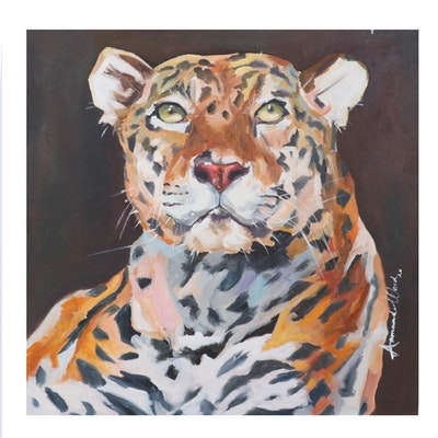 Armando Wood Oil Painting of Leopard, 2020