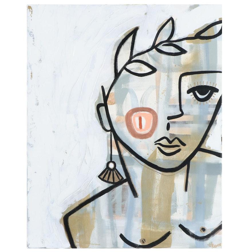 Jordan Howell Abstract Portrait Acrylic Painting, 21st Century