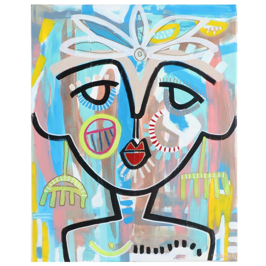 Jordan Howell Abstract Portrait Acrylic Painting