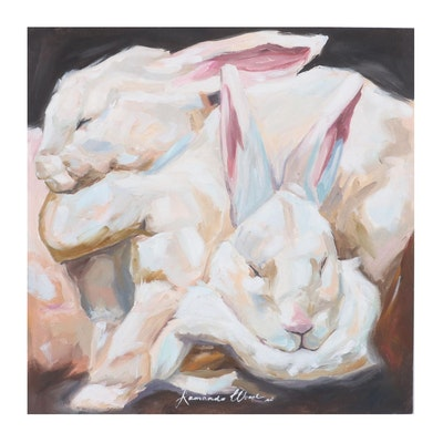 Armando Wood Oil Painting of Sleepy Rabbits, 2020