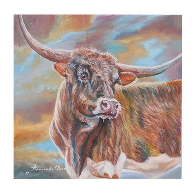 Armando Wood Oil Painting of Bull, 21st Century