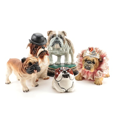 Zelda Wisdom, B. Wade and Other Bulldog Figurines, Bank and Doorstop
