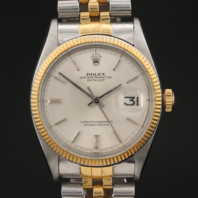 "1960 Rolex ""Datejust"" 18K Gold and Stainless Steel Automatic Wristwatch"