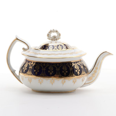 English Hand-Painted Cobalt and Gilt Ceramic Tea Pot, 19th Century