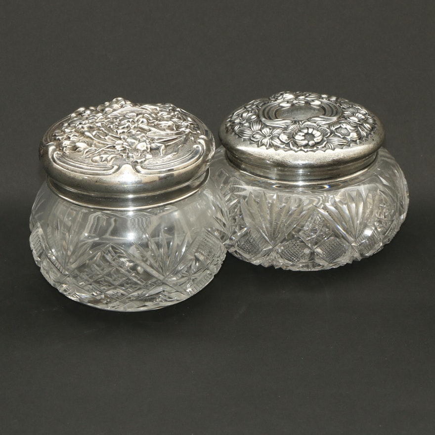 Gorham and Unger Sterling Silver Cut Glass Vanity Jars, Early 20th Century