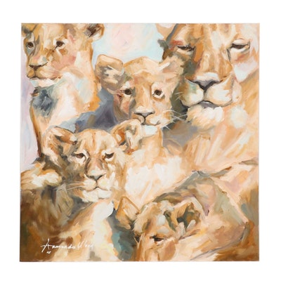 Armando Wood Oil Painting of Lioness and Her Cubs, 2020