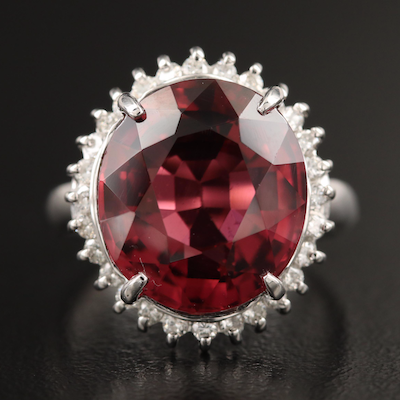 Platinum 9.29 CT Rubellite and Diamond Ring with GIA Report