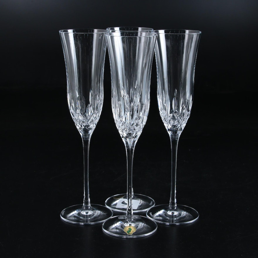 """Waterford Crystal """"Lismore Essence"""" Champagne Flutes"""