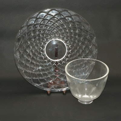 Tiffany & Co. Crystal Round Platter and Steuben Bowl, Mid-Late 20th Century