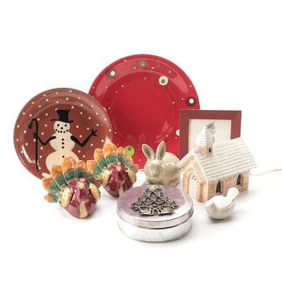 Holiday Themed Ceramics with Santa Wall Decor and Metal Tin