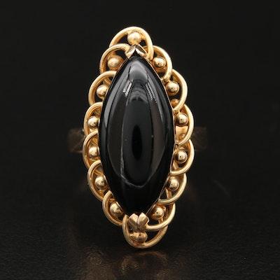 14K Black Onyx Navette Ring