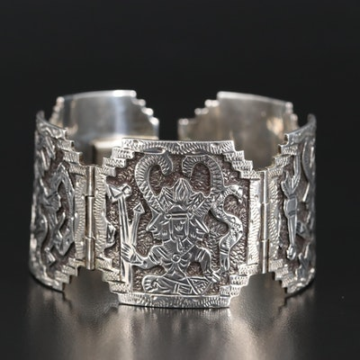 Mexican Sterling Aztec Storyteller Panel Bracelet