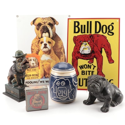 Bronze Bulldog Figurine, Bulldog Figurine Bank and Other Bulldog Motif Items
