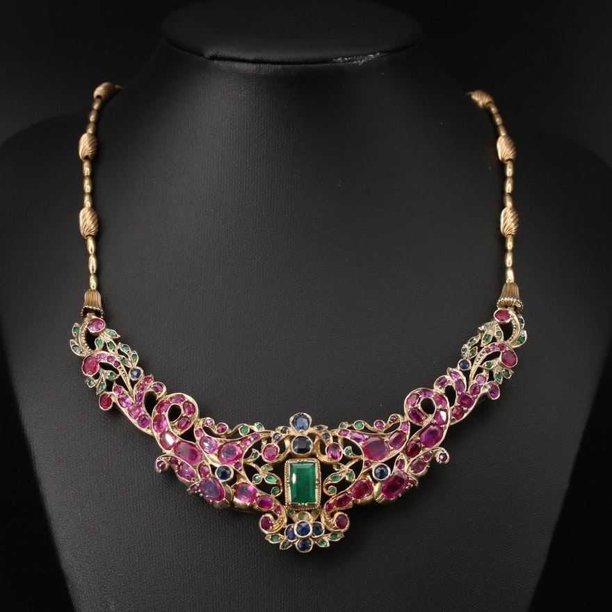 Mughal Style Sterling Emerald, Ruby and Sapphire Necklace