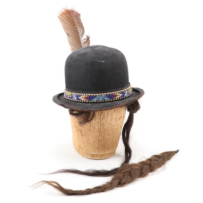 Derby with Southwest Style Beaded Hatband and Horsehair Accents
