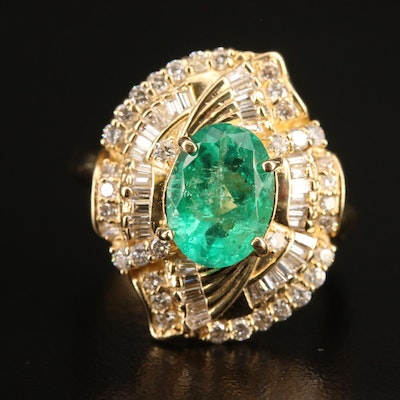 14K 1.60 CT Emerald and 1.01 CTW Diamond Ring with GIA Report