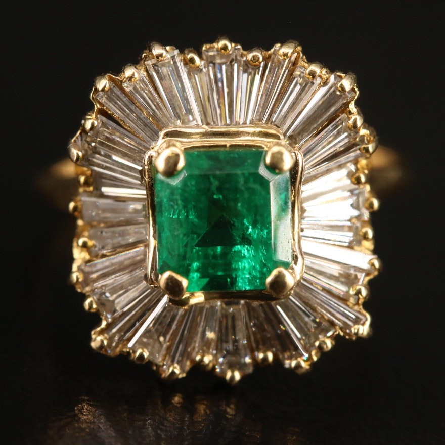 18K 1.32 CT Columbian Emerald and 1.10 CTDiamond Ballerina Ring with GIA Report