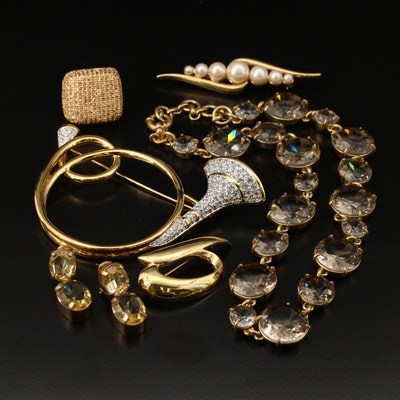 Costume Jewelry Featuring Swarovski Bugle Brooch