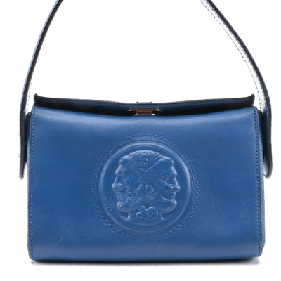 Modified Fendi Blue Leather Janus Medallion Top Handle Bag