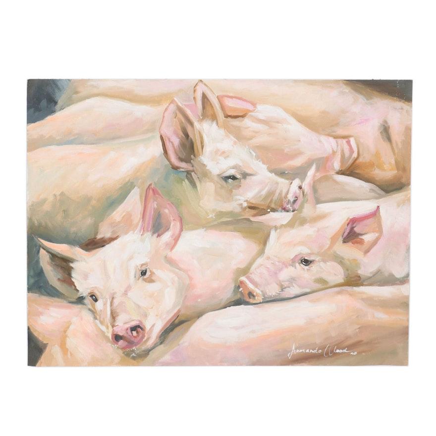 Armando Wood Oil Painting of Pigs, 2020
