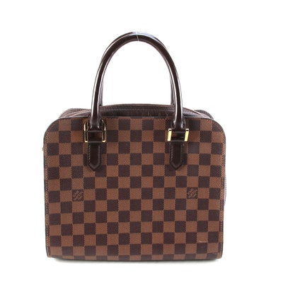 Louis Vuitton Triana Bag in Damier Ebene Canvas and Brown Leather Trim